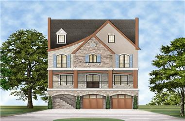 Front elevation of Luxury home (ThePlanCollection: House Plan #106-1316)