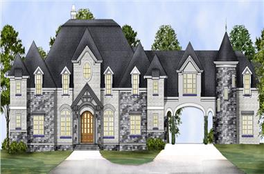 Front elevation of Luxury home (ThePlanCollection: House Plan #106-1317)