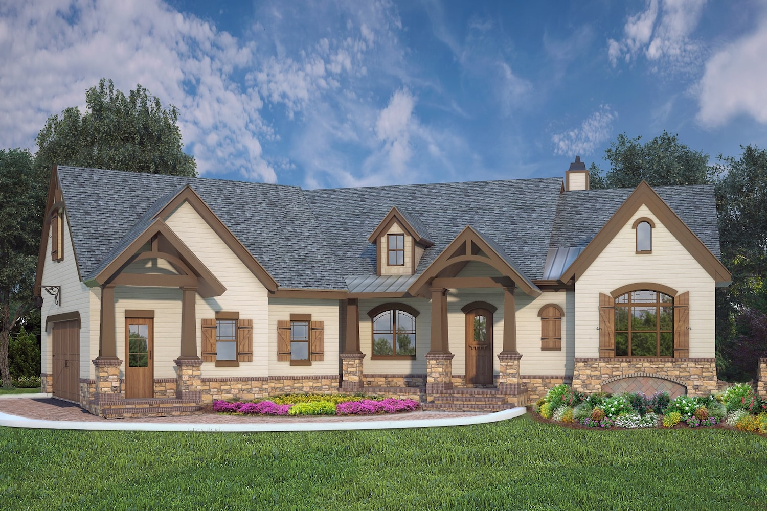 Ranch House Plan - 3 Bedrms, 2.5 Baths - 2764 Sq Ft - #106-1319 on ranch home floor plans with walkout basement, floor plans open kitchen with cathedral ceiling, ranch house with cathedral ceiling, ranch house vaulted ceiling,