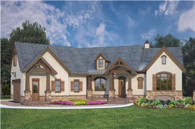 Color rendering of Ranch home plan (ThePlanCollection: House Plan #106-1319)
