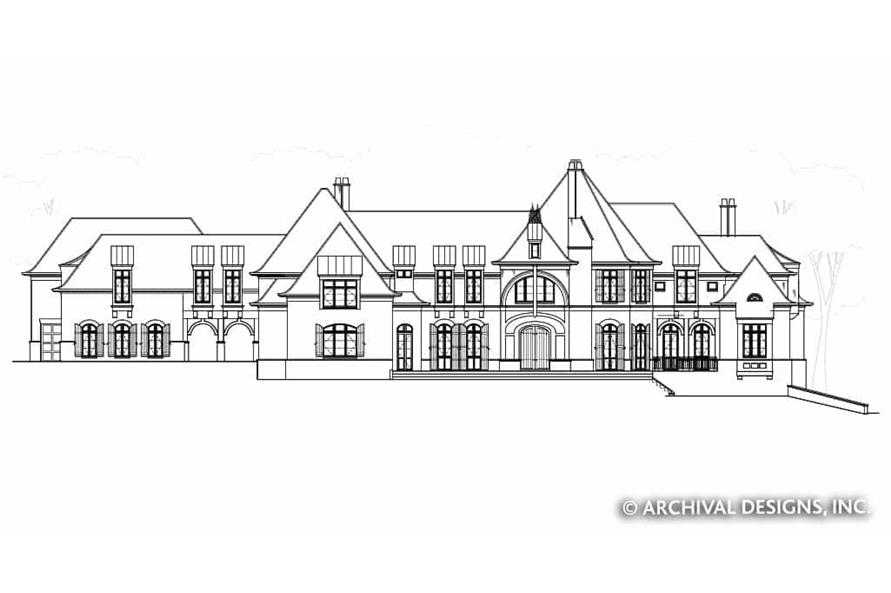Home Plan Front Elevation of this 7-Bedroom,8628 Sq Ft Plan -106-1325