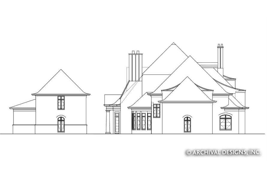 Home Plan Left Elevation of this 7-Bedroom,8628 Sq Ft Plan -106-1325
