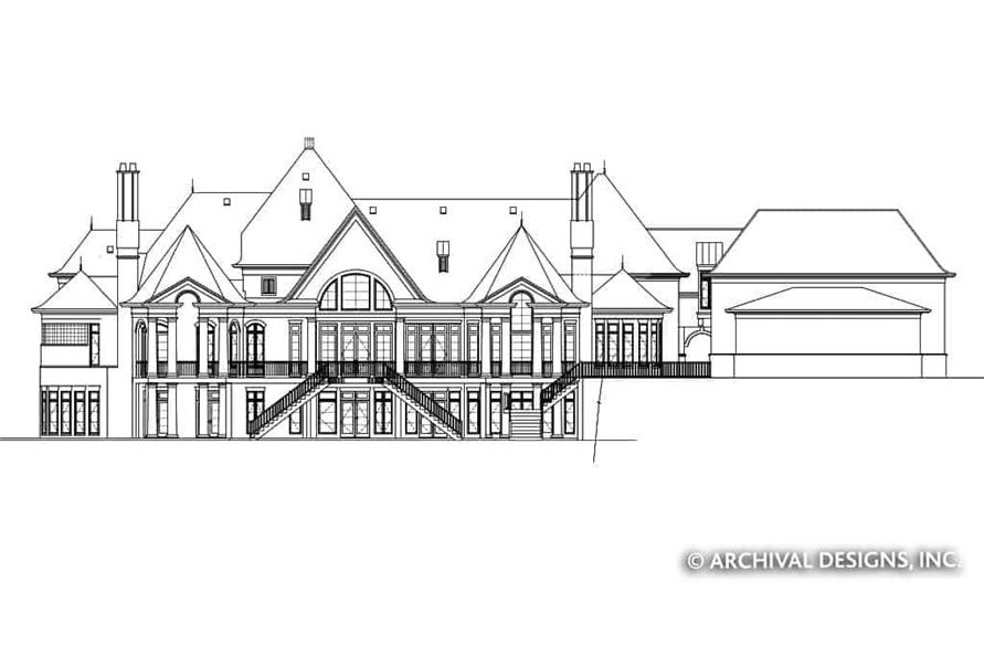 Home Plan Rear Elevation of this 7-Bedroom,8628 Sq Ft Plan -106-1325