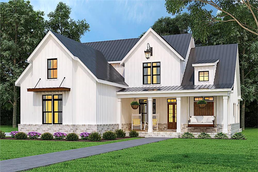 Farmhouse home (ThePlanCollection: Plan #106-1328)