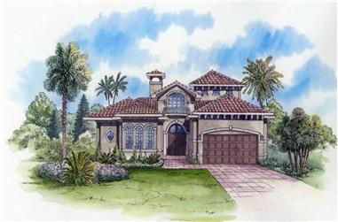 4-Bedroom, 3983 Sq Ft Mediterranean House Plan - 107-1001 - Front Exterior