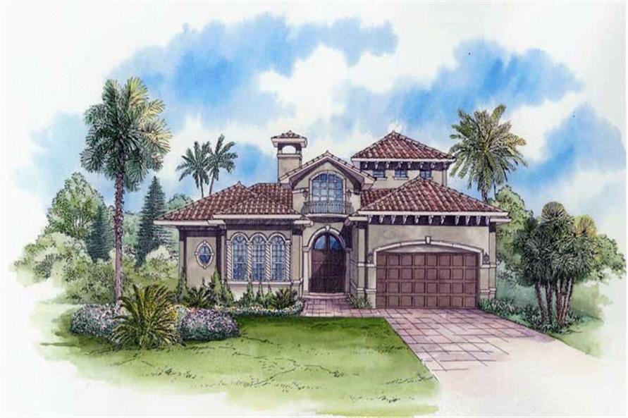 4-Bedroom, 3983 Sq Ft Mediterranean House Plan - 107-1001 - Front Exterior