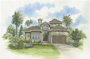 4-Bedroom, 4106 Sq Ft Mediterranean House Plan - 107-1004 - Front Exterior