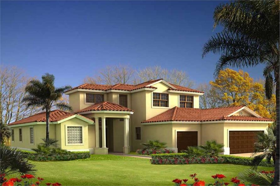 4-Bedroom, 2543 Sq Ft Mediterranean Home Plan - 107-1005 - Main Exterior