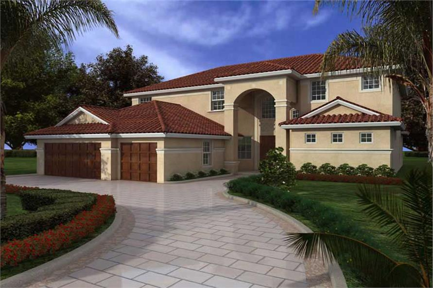 6-Bedroom, 4047 Sq Ft Mediterranean House Plan - 107-1012 - Front Exterior