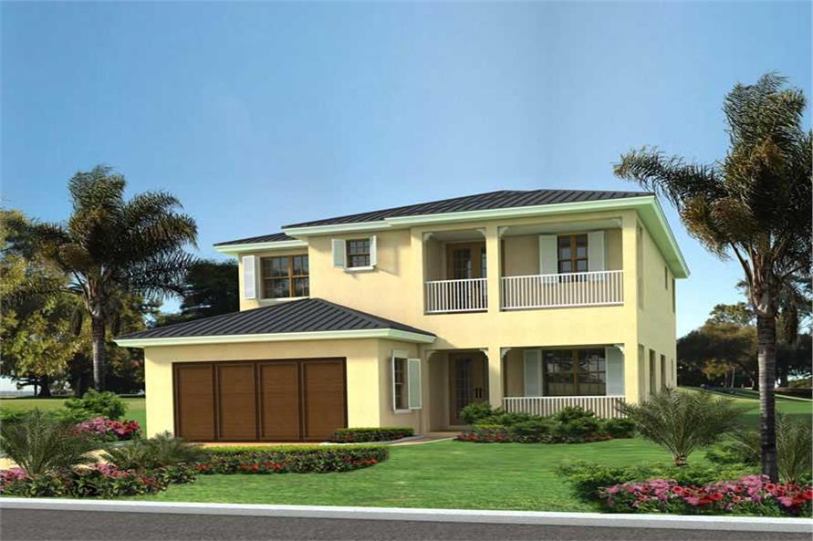 4-Bedroom, 2899 Sq Ft Mediterranean Home Plan - 107-1014 - Main Exterior