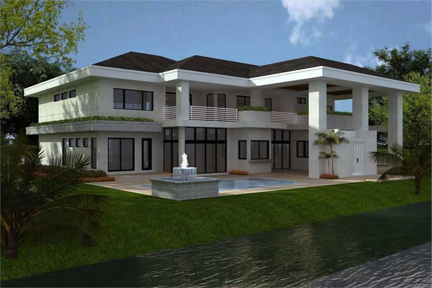 Home Plan Rear Elevation of this 4-Bedroom,5555 Sq Ft Plan -107-1015