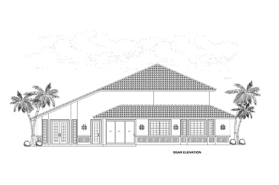 Home Plan Rear Elevation of this 4-Bedroom,2861 Sq Ft Plan -107-1018