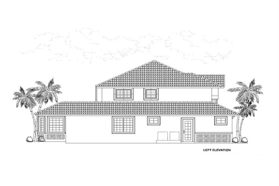 Home Plan Left Elevation of this 4-Bedroom,2861 Sq Ft Plan -107-1018