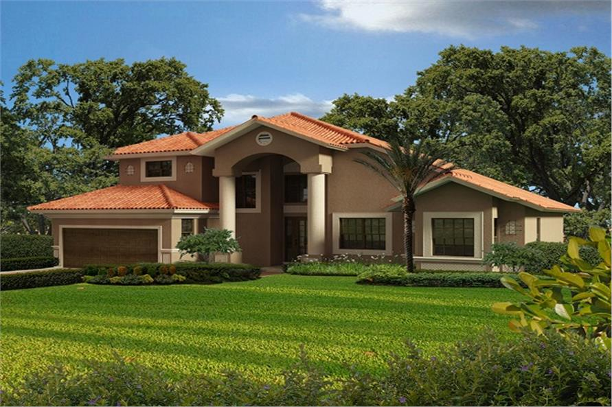 4-Bedroom, 2861 Sq Ft Mediterranean Home Plan - 107-1018 - Main Exterior