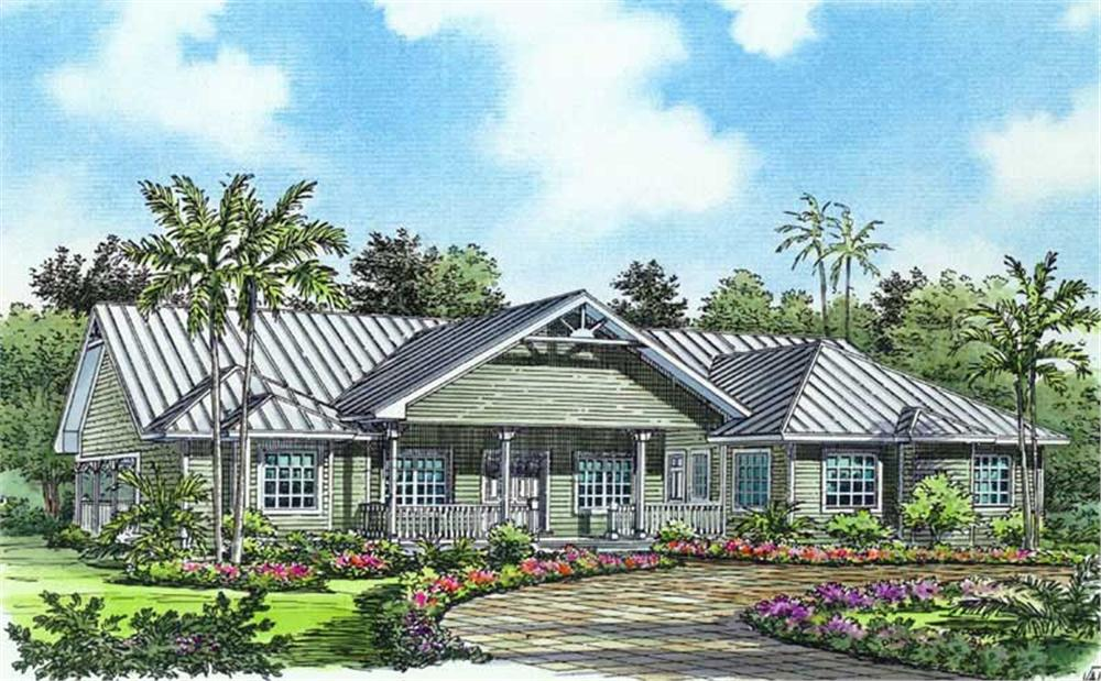 Front elevation of Florida Style home (ThePlanCollection: House Plan #107-1019)