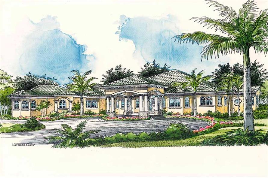 3-Bedroom, 4680 Sq Ft Mediterranean House Plan - 107-1021 - Front Exterior