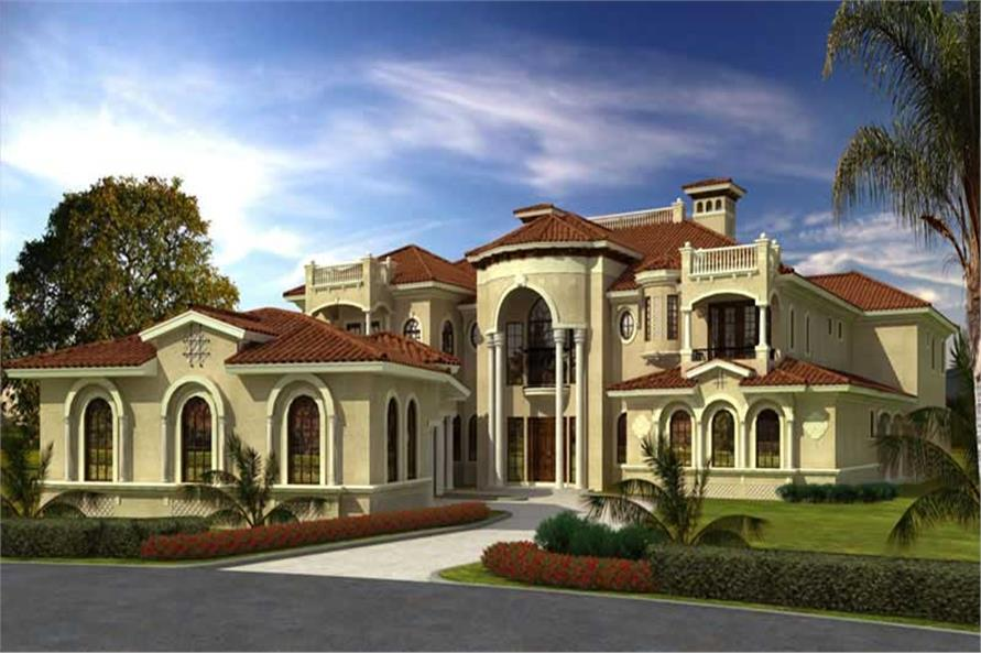 Luxury homeplans color front elevation.