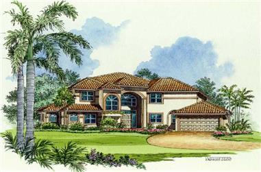 1-Bedroom, 4771 Sq Ft Mediterranean Home Plan - 107-1027 - Main Exterior