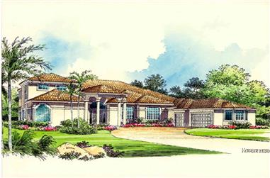 1-Bedroom, 5592 Sq Ft Luxury Home Plan - 107-1028 - Main Exterior