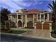 This image shows the front elevation of these Luxury house plans.