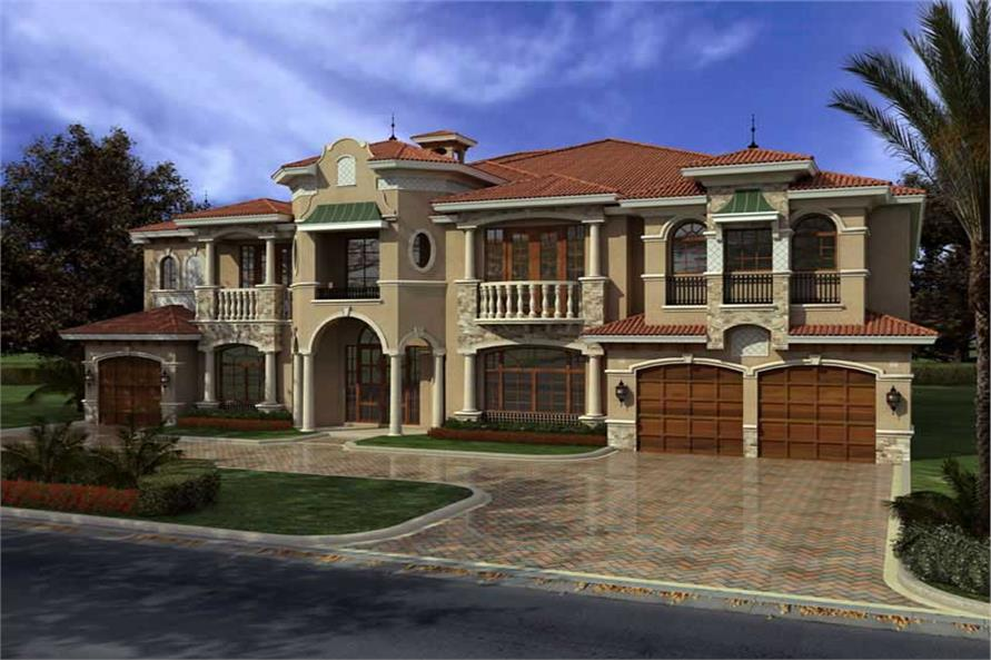 107 1031 This image shows the front elevation of these Luxury house plans Home with 7 Bdrms 7883 Sq Ft House Plan