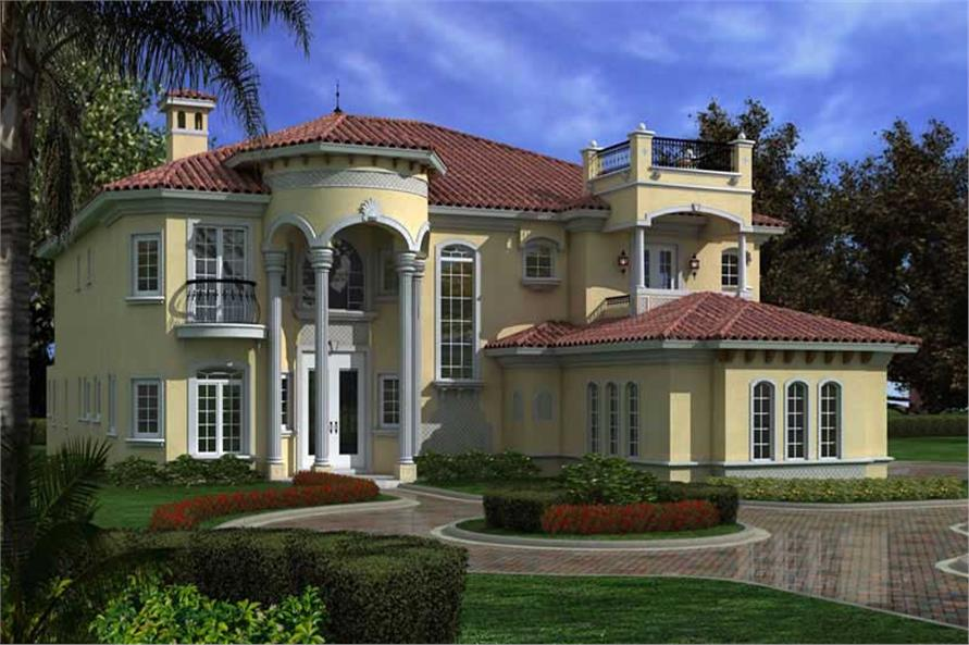 107 1033 This image shows the front elevation of these Luxury house plans Home with 6 Bdrms 6784 Sq Ft House Plan