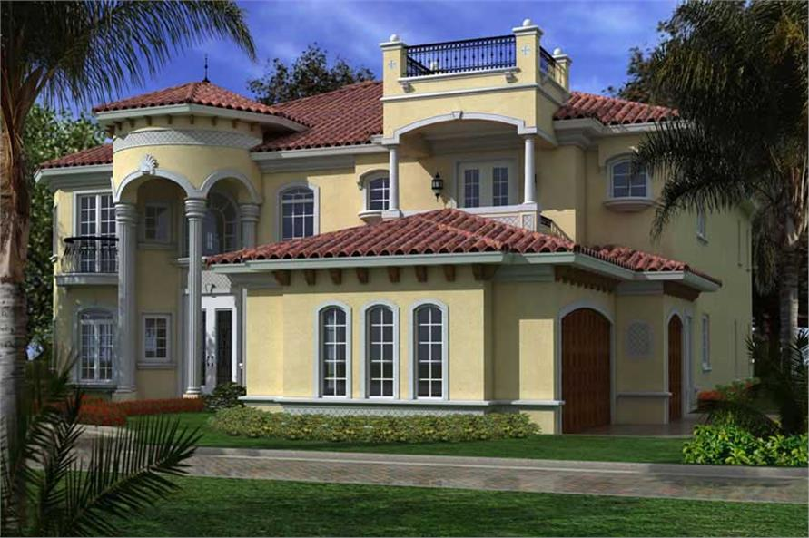 Home Plan Left Elevation of this 6-Bedroom,6784 Sq Ft Plan -107-1033