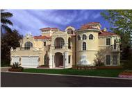 This image shows the front elevation of these Luxury Home Plans, Mediterranean House Plans.