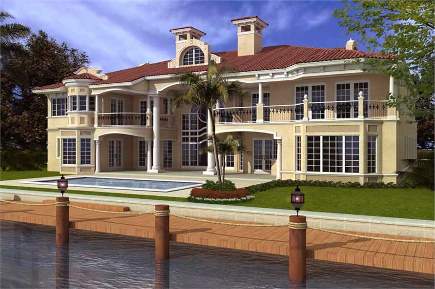 Home Plan Rear Elevation of this 6-Bedroom,8441 Sq Ft Plan -107-1035