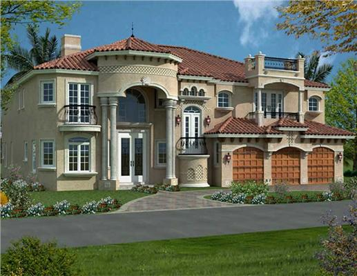 Front Elevation for AA6116-0515 luxury house plans.