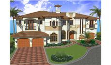Luxury House Plans AA6096-0506 color rendering.