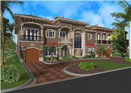 Luxury house plans color rendering.