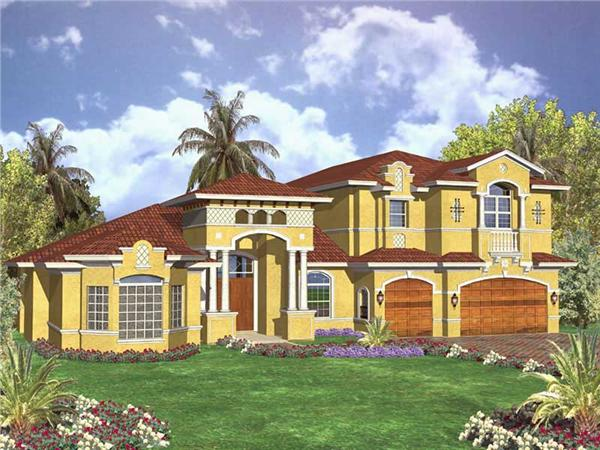 This image shows the front elevation of these Mediterranean House Plans, Beachfront Home Design, 1-1/2 Story Home Plans, Luxury FloorPlans.