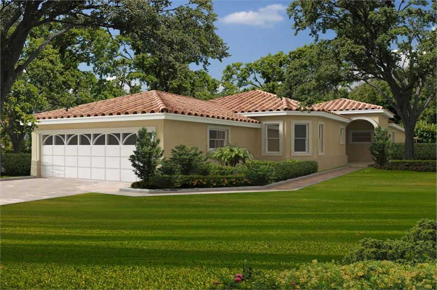 3-Bedroom, 3354 Sq Ft Florida Style Home Plan - 107-1049 - Main Exterior