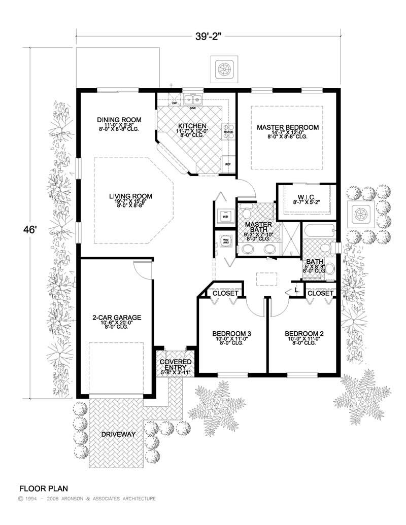 California style home plan 3 bedrms 2 baths 1453 sq for Small concrete block house plans