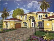 This image shows the front elevation of these Mediterranean Home Plans, Luxury House Plans.