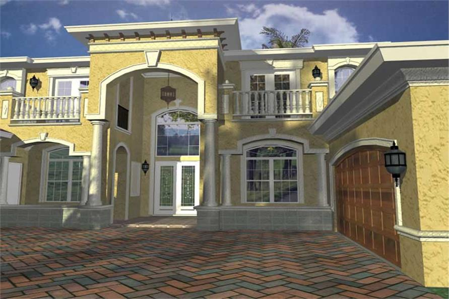 Home Plan Rear Elevation of this 5-Bedroom,8082 Sq Ft Plan -107-1056