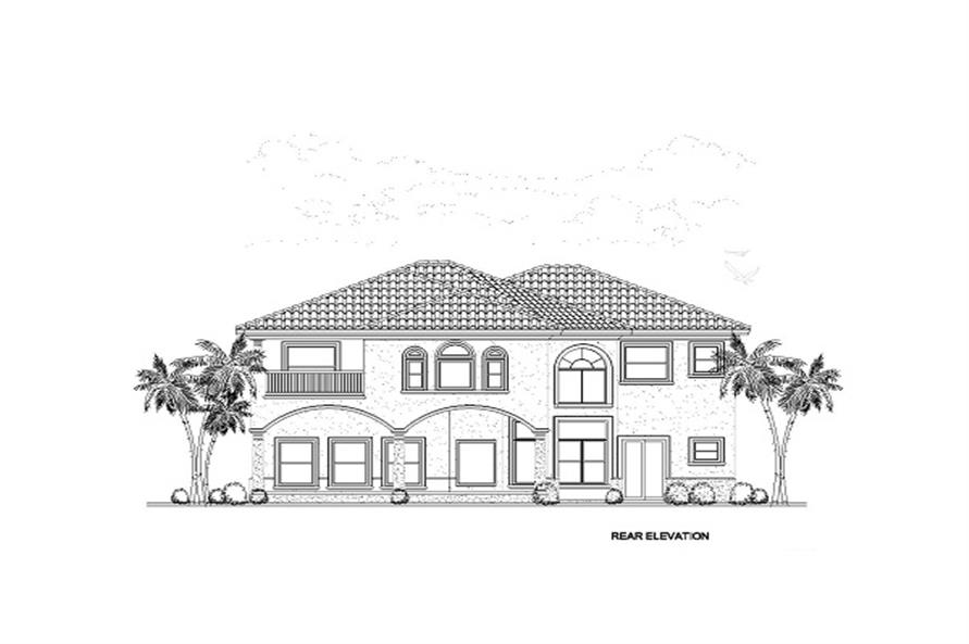 Home Plan Rear Elevation of this 6-Bedroom,6170 Sq Ft Plan -107-1058