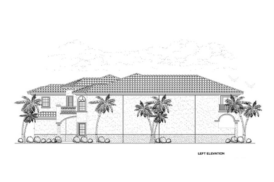 Home Plan Left Elevation of this 6-Bedroom,6170 Sq Ft Plan -107-1058