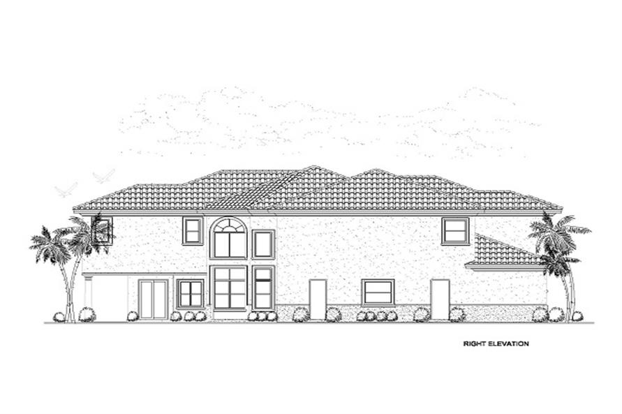 Home Plan Right Elevation of this 6-Bedroom,6170 Sq Ft Plan -107-1058