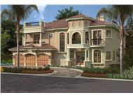 This image shows the front elevation of these Mediterranean House Plans, Luxury Home Plans.