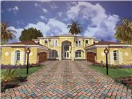This image shows the front elevation of these Mediterranean House Plans, Traditional Style Plans, Luxury Home Design.