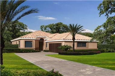 3-Bedroom, 2251 Sq Ft Mediterranean House Plan - 107-1067 - Front Exterior