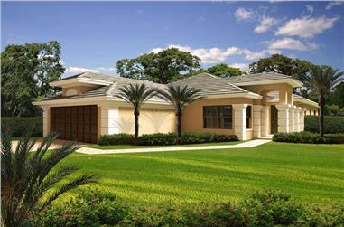 3-Bedroom, 2866 Sq Ft Florida Style House Plan - 107-1071 - Front Exterior