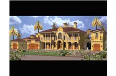 Luxury house plans AA6904-035 color rendering.