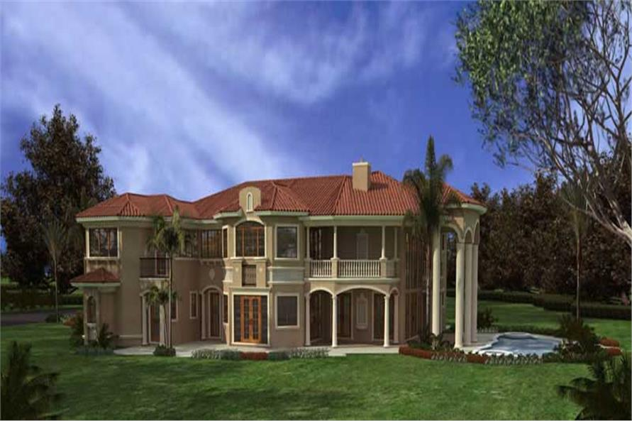 Home Plan Rear Elevation of this 7-Bedroom,7502 Sq Ft Plan -107-1075