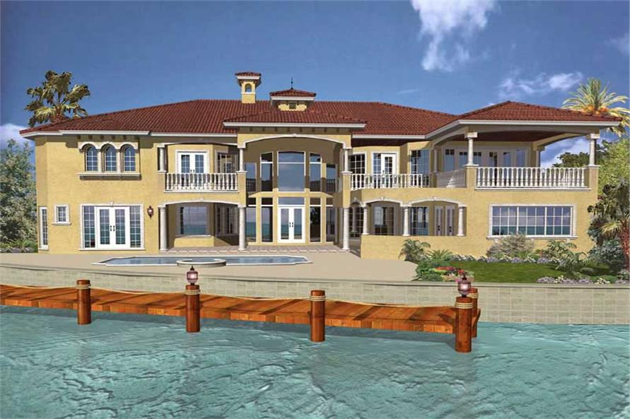 Home Plan Rear Elevation of this 6-Bedroom,7100 Sq Ft Plan -107-1085