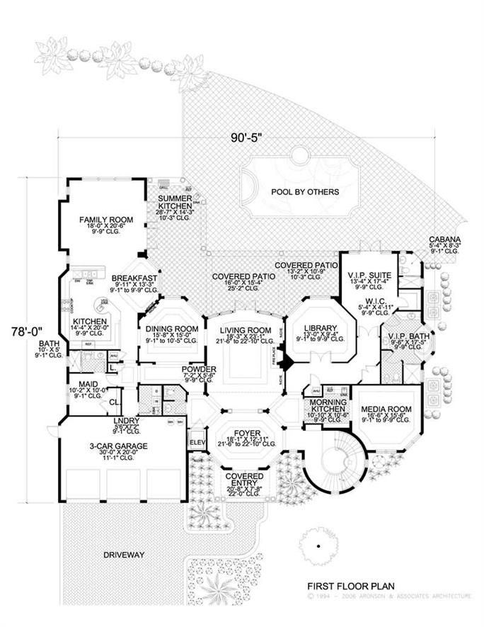 floor plan first story luxury homeplans - Luxury Floor Plans