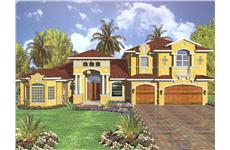 This image shows the front elevation of these Mediterranean Plans, Luxury HousePlans, 1-1/2 Story home Plans, Florida House Design.