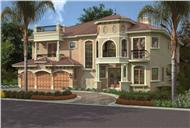 This image shows the front elevation of these Mediterranean House Plans, Luxury HomePlans.